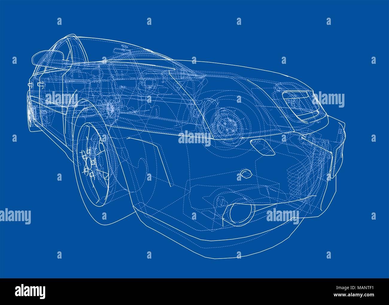 Concept car blueprint 3d illustration wire frame style stock photo concept car blueprint 3d illustration wire frame style malvernweather Images