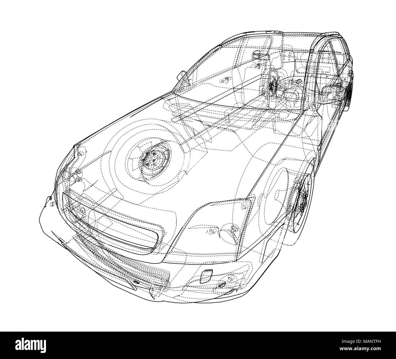 Concept car blueprint  3d illustration  Wire-frame style Stock Photo