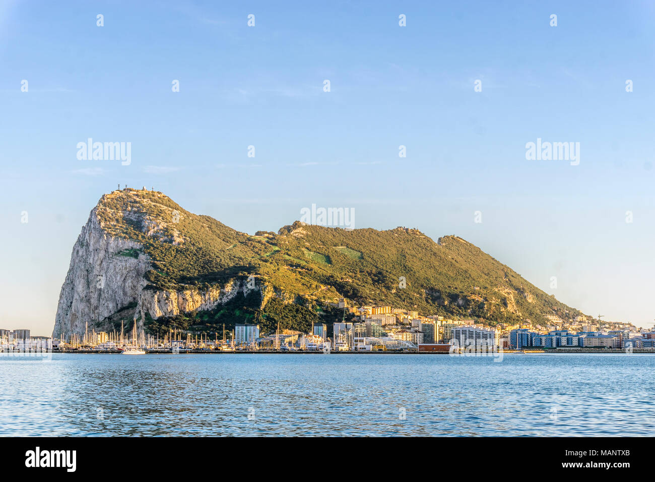 Gibraltar Rock viewed from Andalusia, British overseas territory Stock Photo