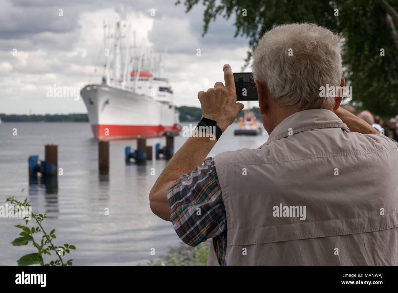 Kiel, Germany, Cap San Diego Museum ship in front of the lock of Kiel-Holtenau Stock Photo