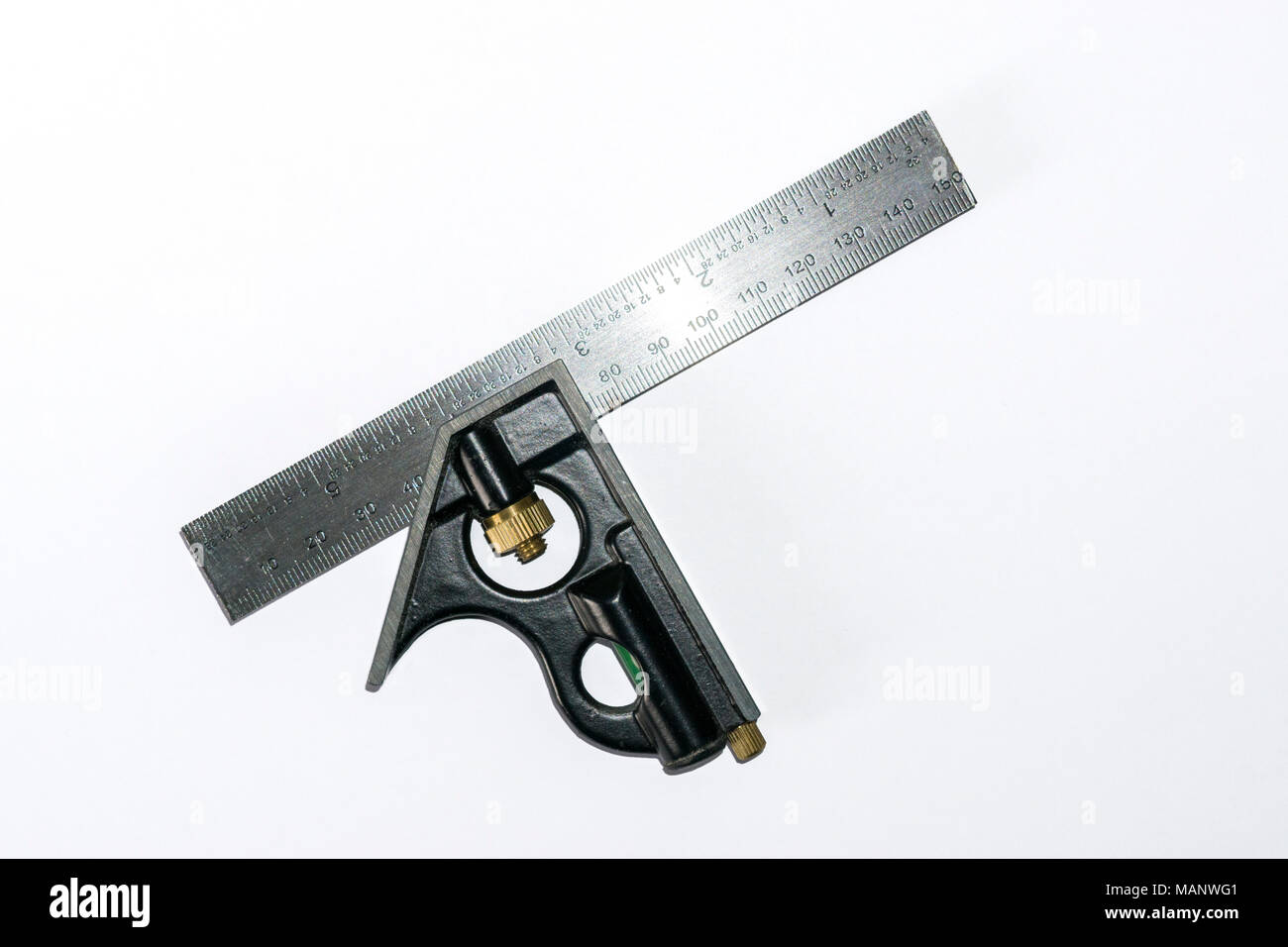 Engineers combination square - Stock Image