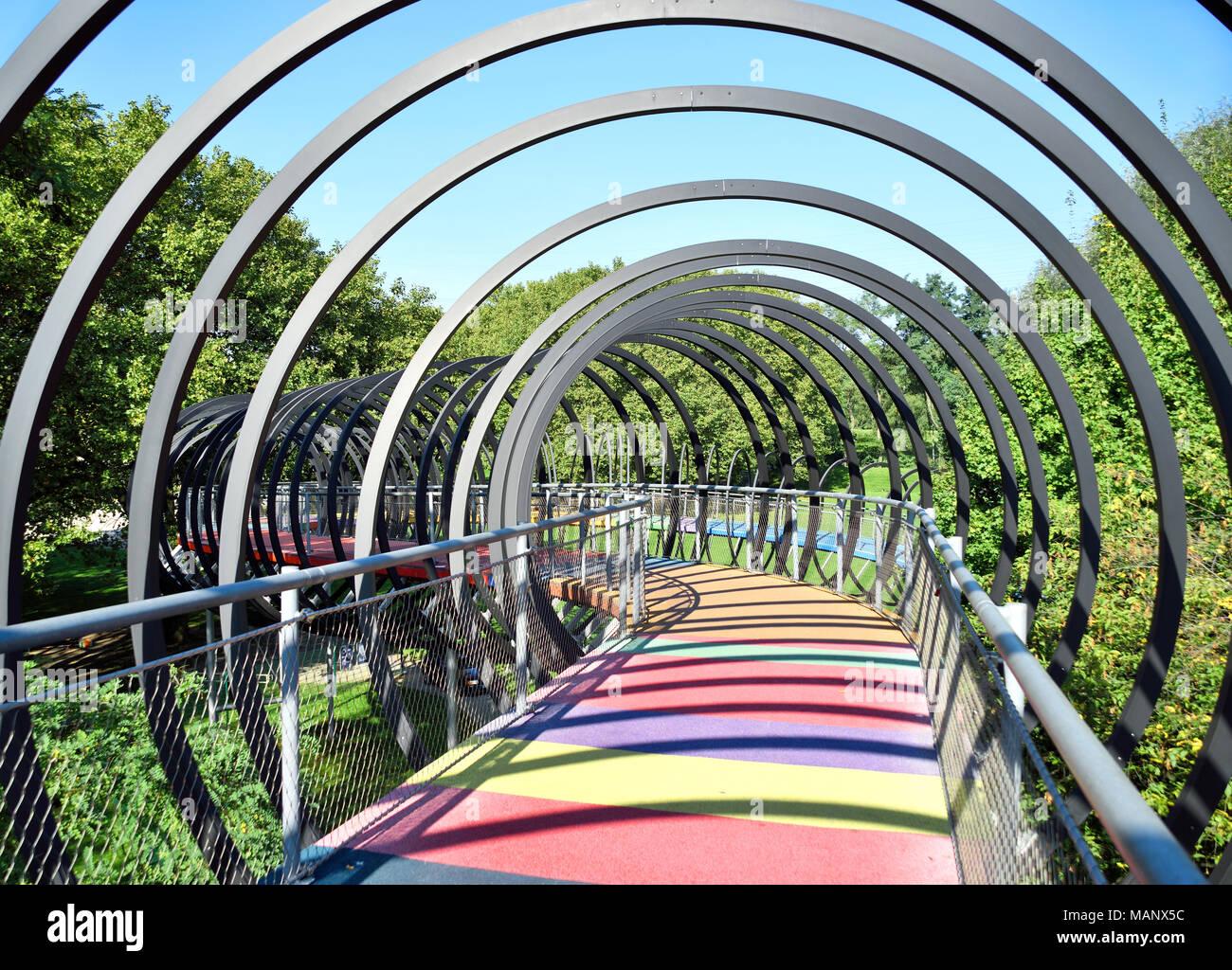 Slinky springs bridge, Kaisergarten Oberhausen.Modern architecture, design bridge. - Stock Image