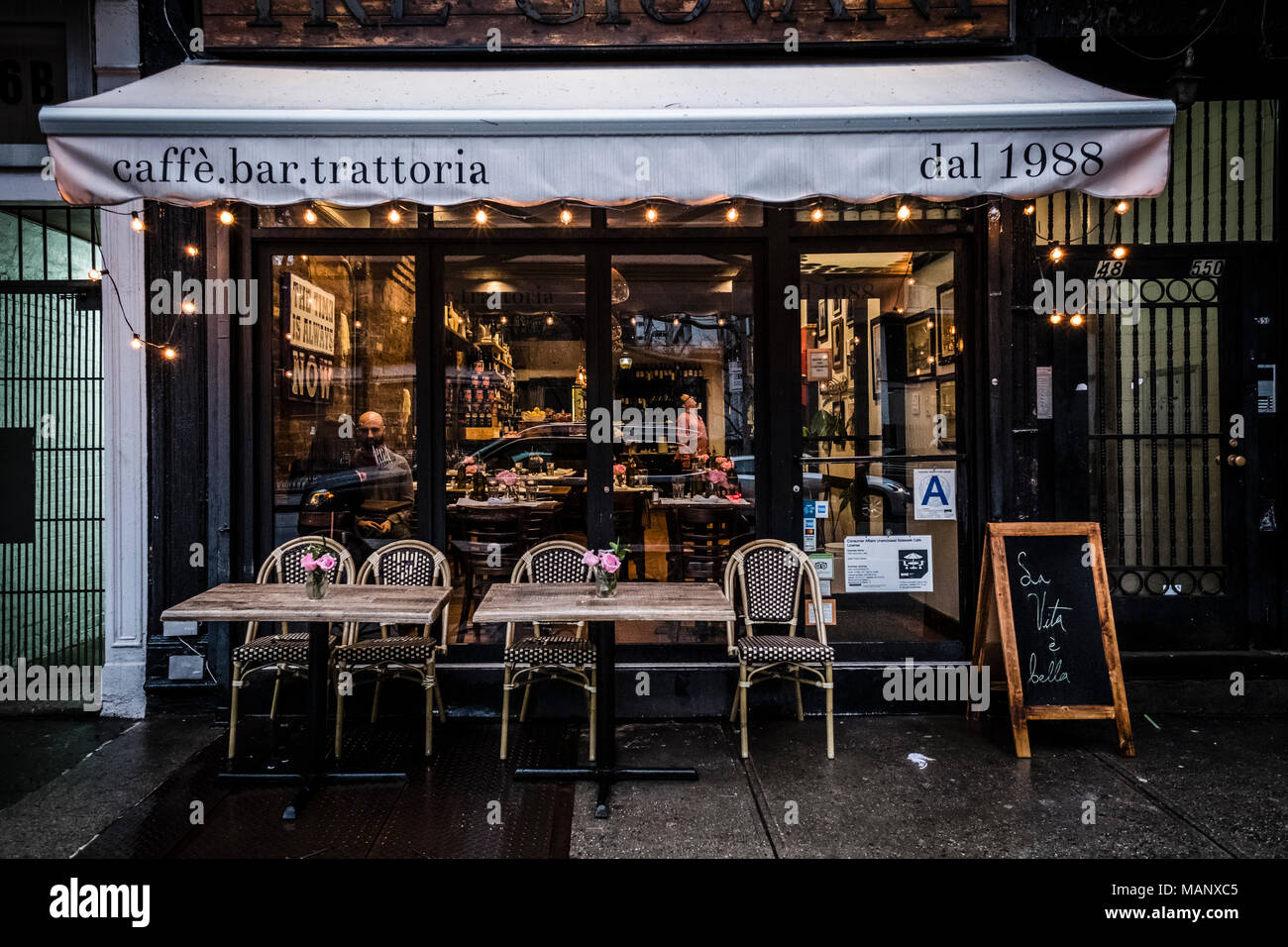 Italian Restaurant Facade At Soho New York Stock Photo Alamy