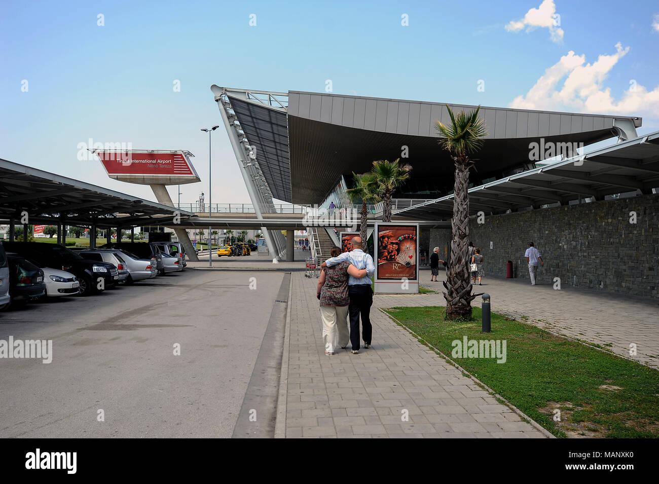 Tirana, Albania, people in front of Tirana Airport - Stock Image