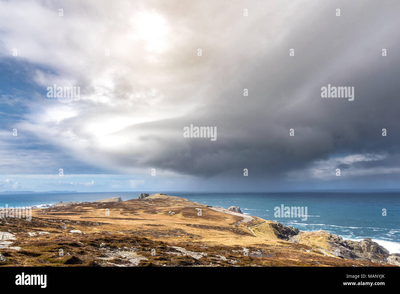Ominous rain cloud coming in from the Atlantic Ocean.  This was taken at Malin Head, County Donegal Ireland. - Stock Image
