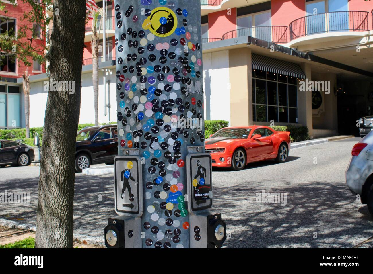 A Red Chevrolet Camaro Behind A Sticker Covered Sign Houston Texas Usa Stock Photo Alamy