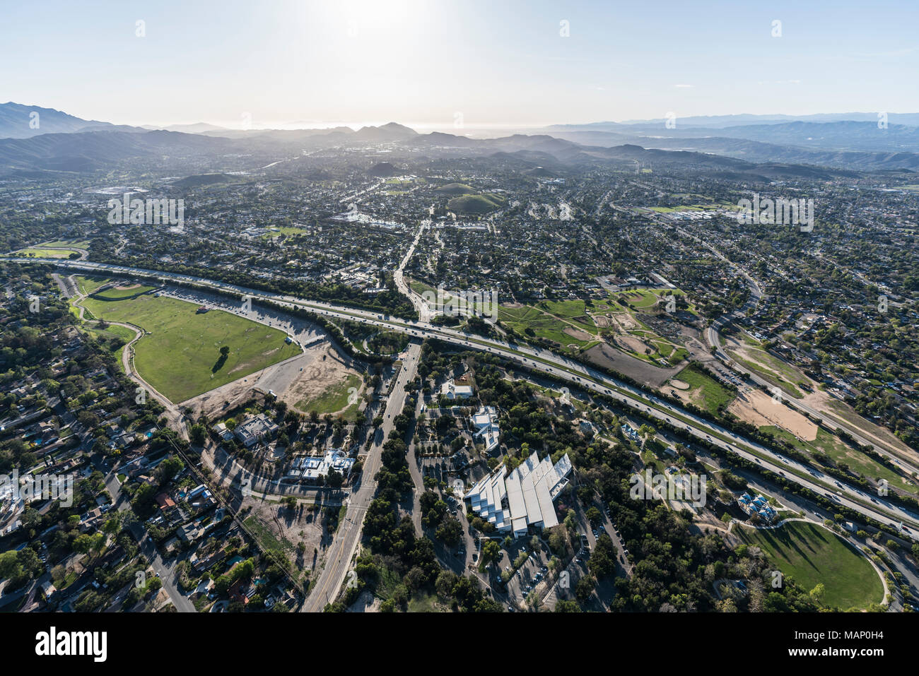 Aerial view of route 23 freeway at Janss Road in suburban Thousand Oaks near Los Angeles, California. - Stock Image