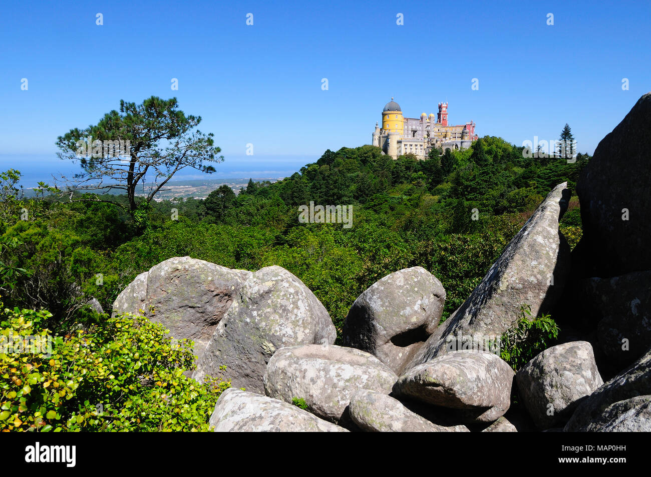 Palácio da Pena, built in the 19th century, in the hills above Sintra, in the middle of a UNESCO World Heritage Site. Sintra, Portugal Stock Photo