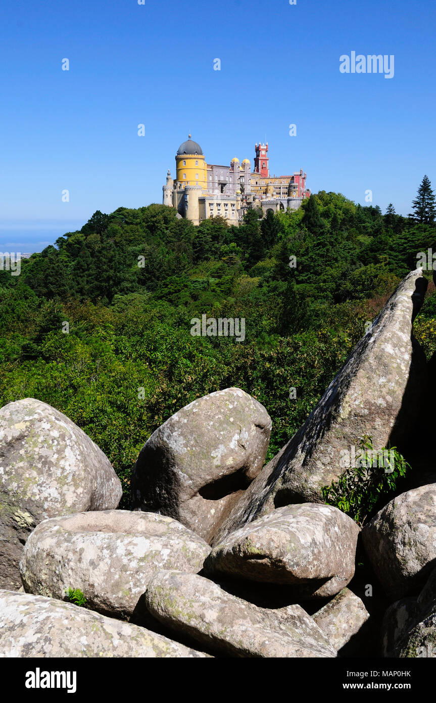 Palácio da Pena, built in the 19th century, in the hills above Sintra, in the middle of a UNESCO World Heritage Site. Sintra, Portugal - Stock Image