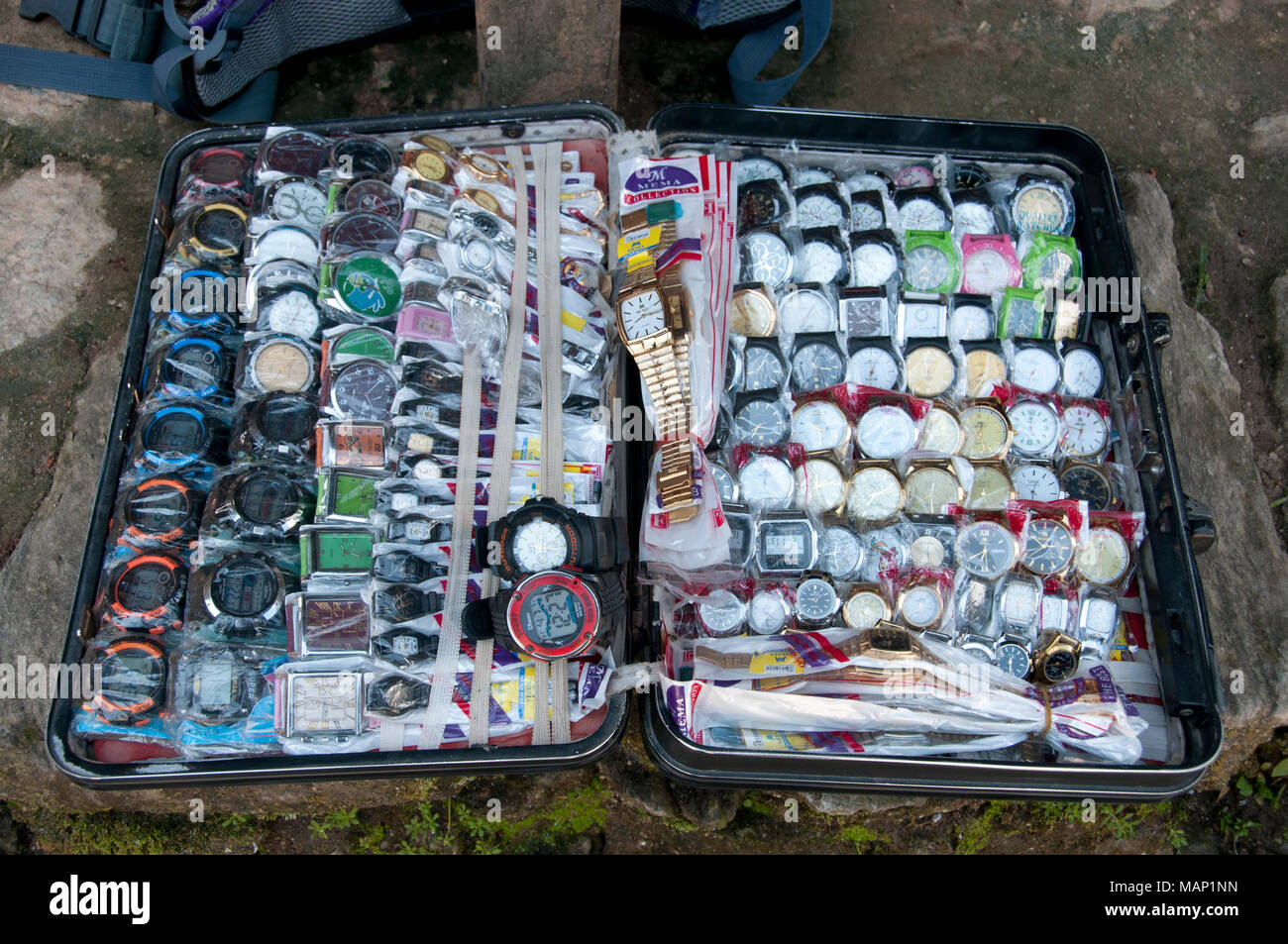 Nepal 2014. Manebhajang. Case of watches belonging to a travelling salesman; - Stock Image