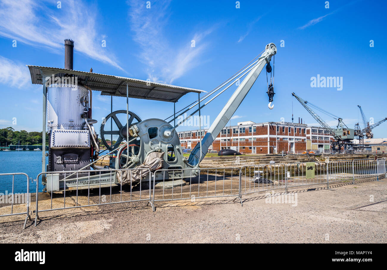 historic steam crane, built and installed in 1891 by Morts Dock and Engineering Company, Balmain at the Cockatoo Island shipyard heritage site, Sydney - Stock Image