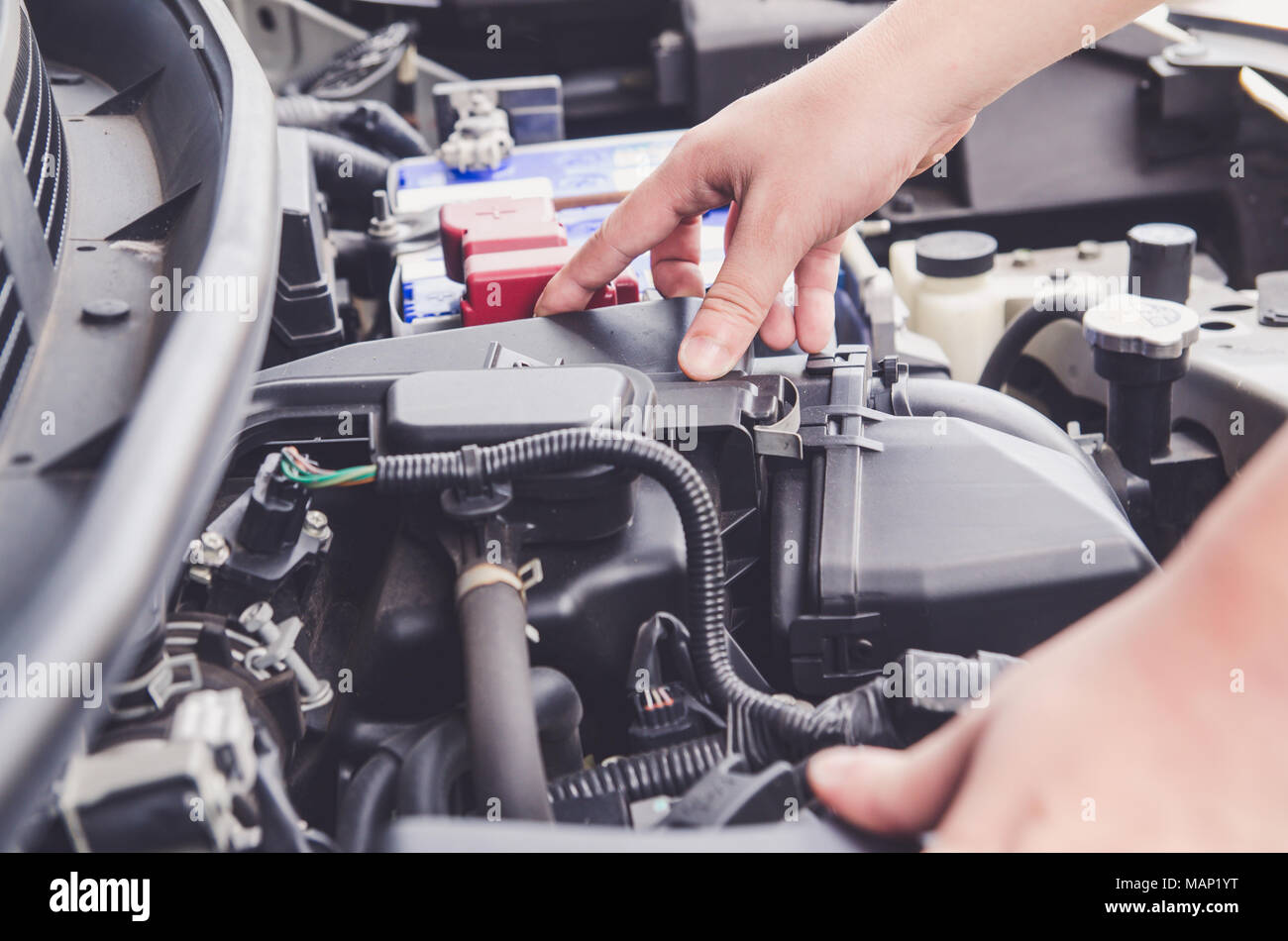 Car Repair And Maintenance >> Check The Condition Of The Car Engine Repair Or Maintenance Concept