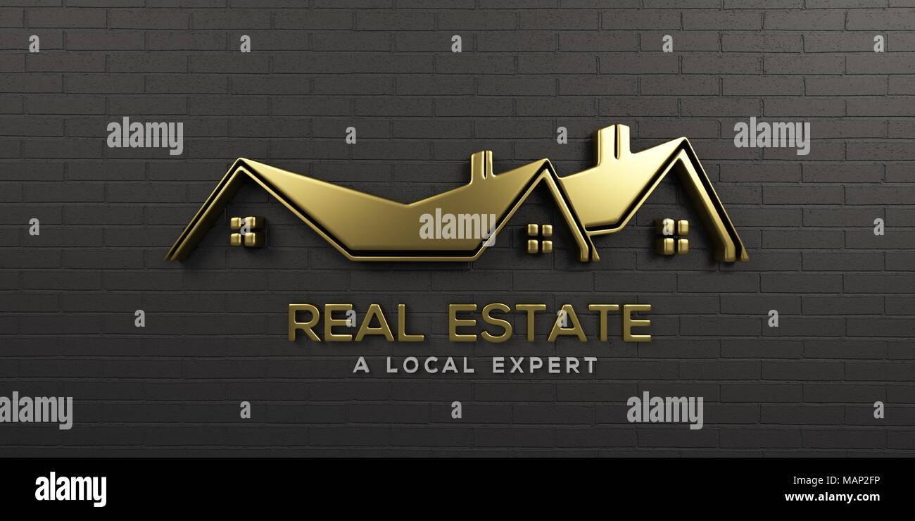 House Logo Design Creative Real Estate In Black Wall Background Stock Photo Alamy