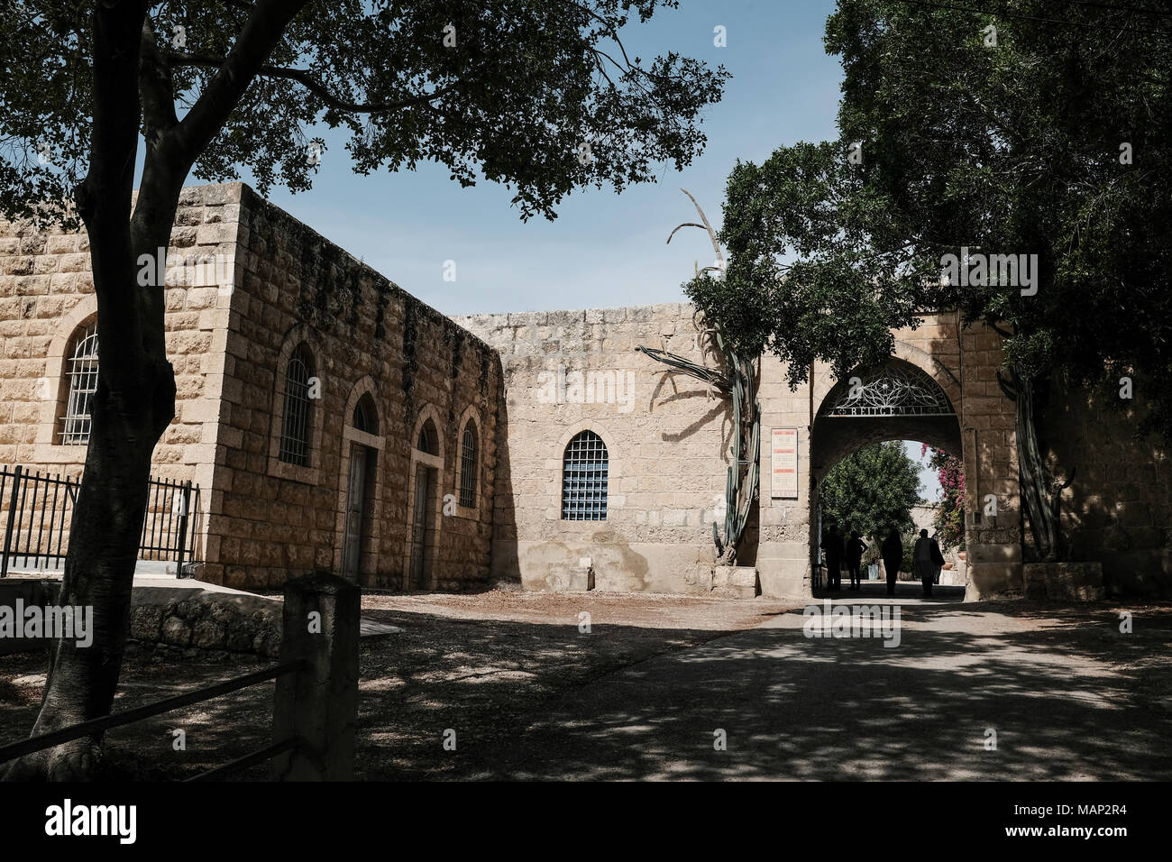 Beit Jamal is a Catholic monastery run by Salesian monks near Beit Shemesh, Israel.  The site is identified with the Byzantine town of Caphargamala or - Stock Image