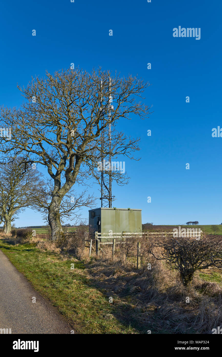 A Small Repeater Communication Station or Tower, on a Minor Road in the middle of Farmland near Muirdrum in Angus, Scotland - Stock Image