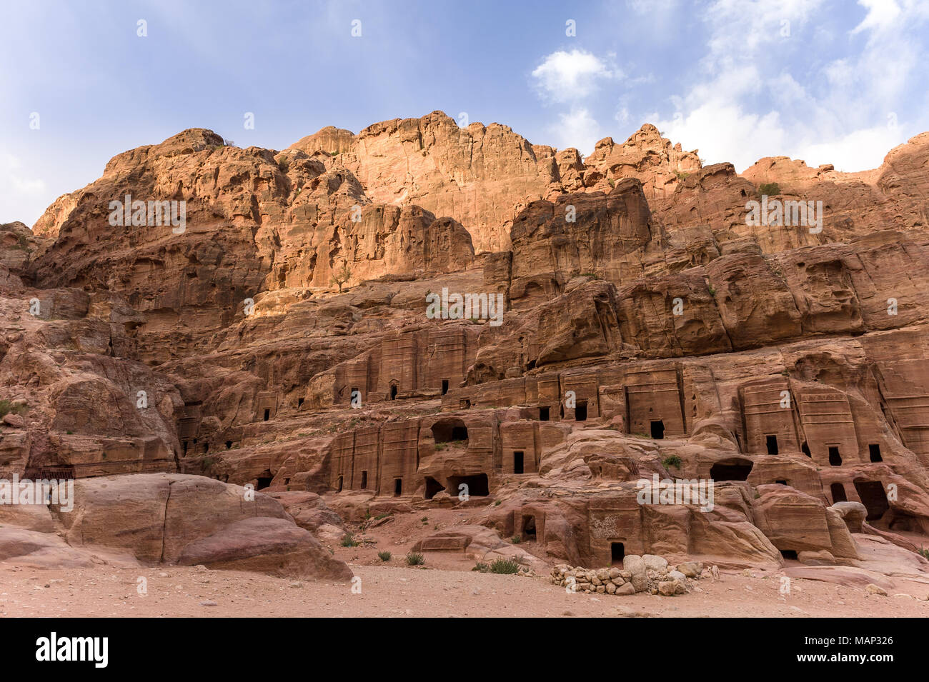 General view of the Royal Tombs in Petra, Jordan, The Urn Tombs. Stock Photo