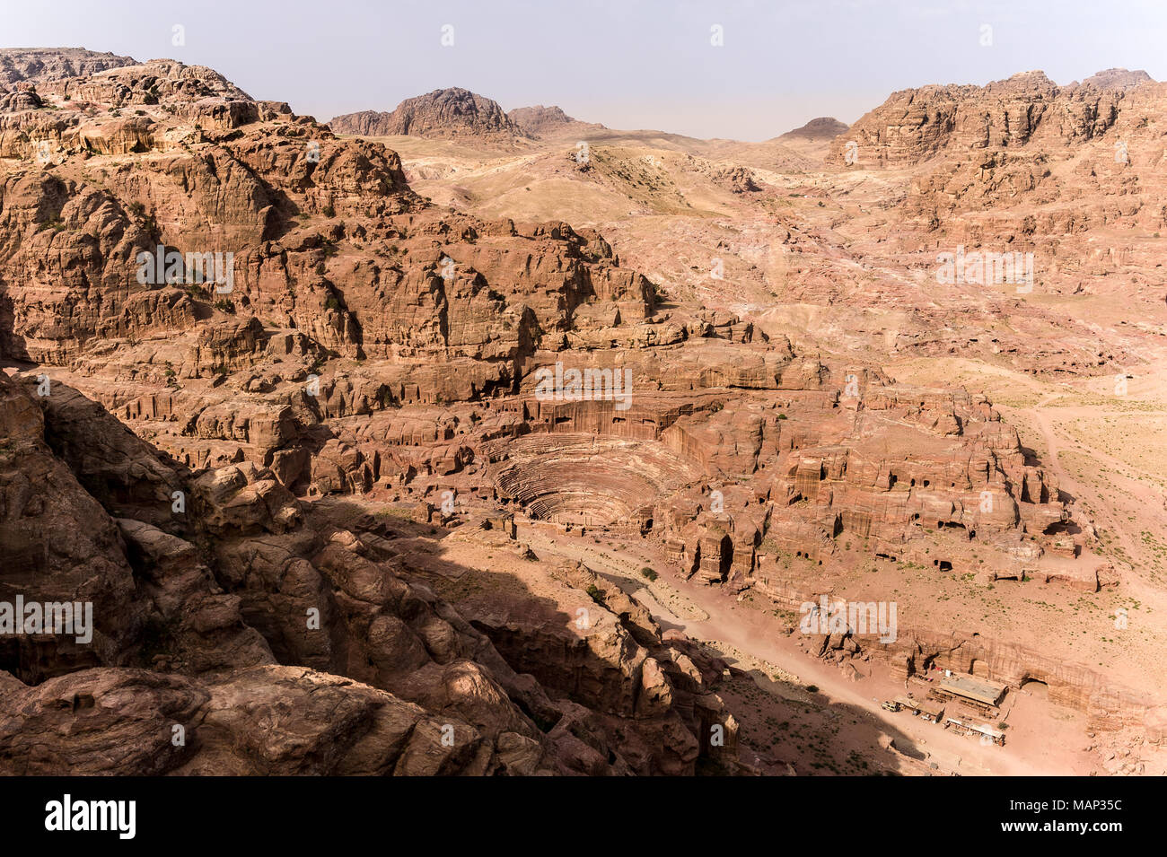 Nabatean theatre in Petra a Wolrd Heritage site in Jordan. - Stock Image