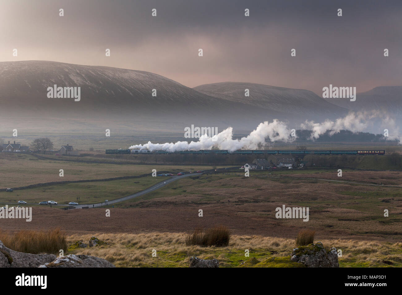 Steam locomotive 60163 TORNADO at  Ribblehead with the first scheduled steam hauled passenger train  (0825 Appleby - Skipton) since 1968 Stock Photo