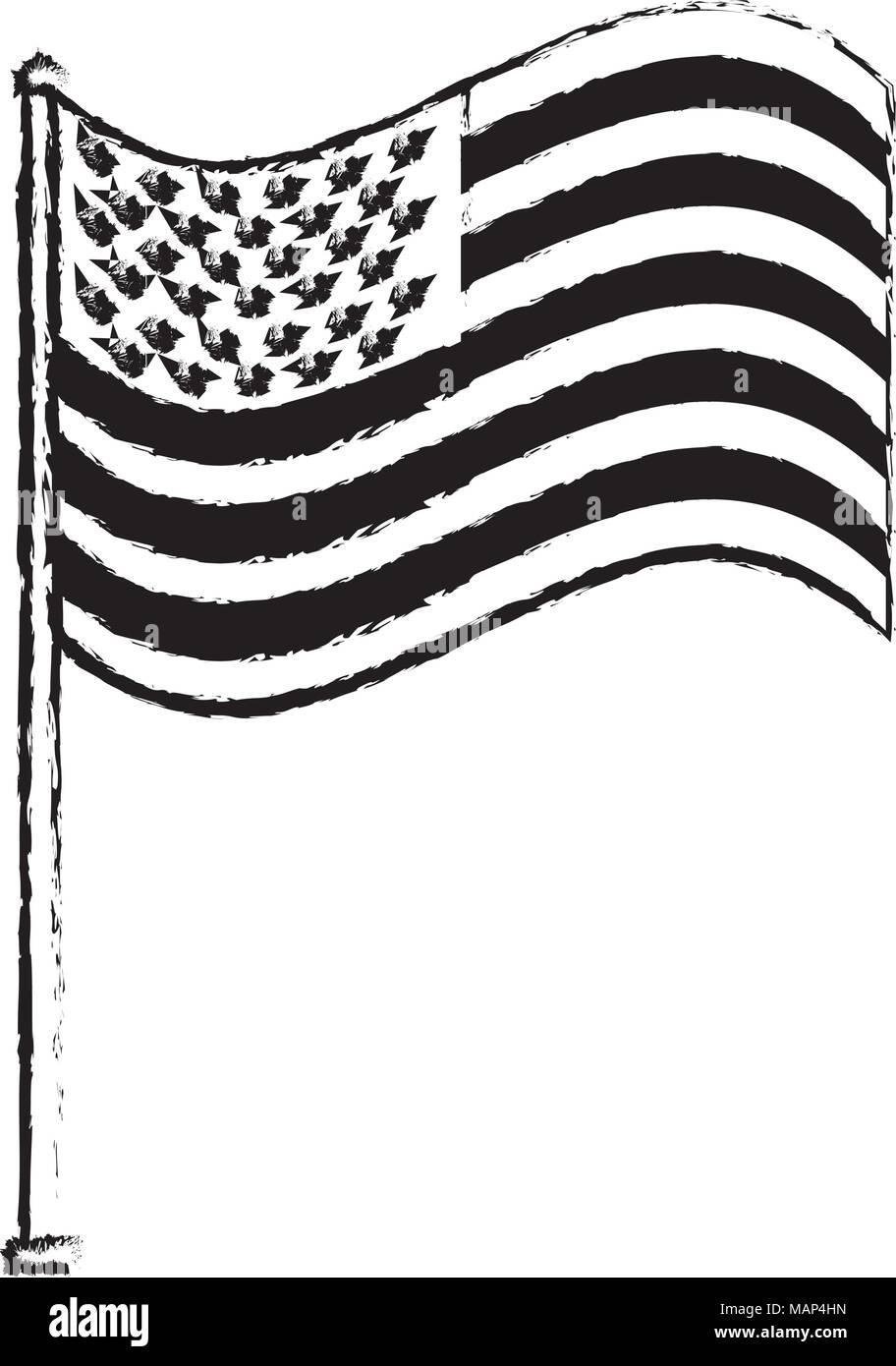 unites state of america waving on flagpole vector illustration - Stock Vector