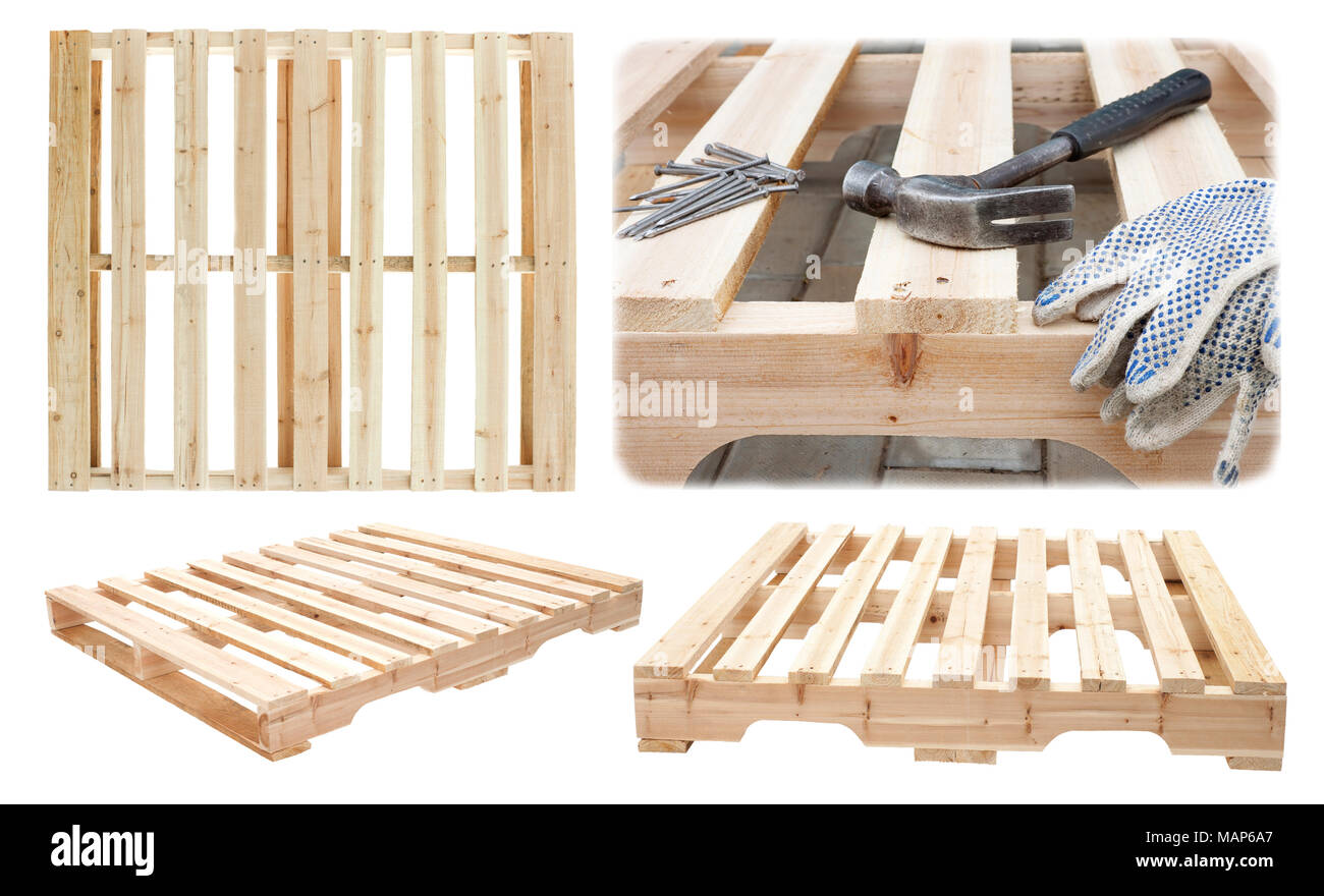 Manufacture of wooden platforms for the transportation of construction materials - Stock Image