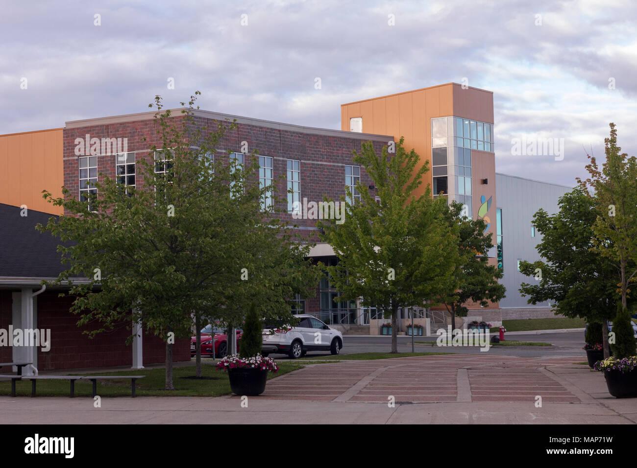 View of the multi-purpose sporting facility, the Garcelon Civic Centre in St. Stephen, New Brunswick, Canada - Stock Image