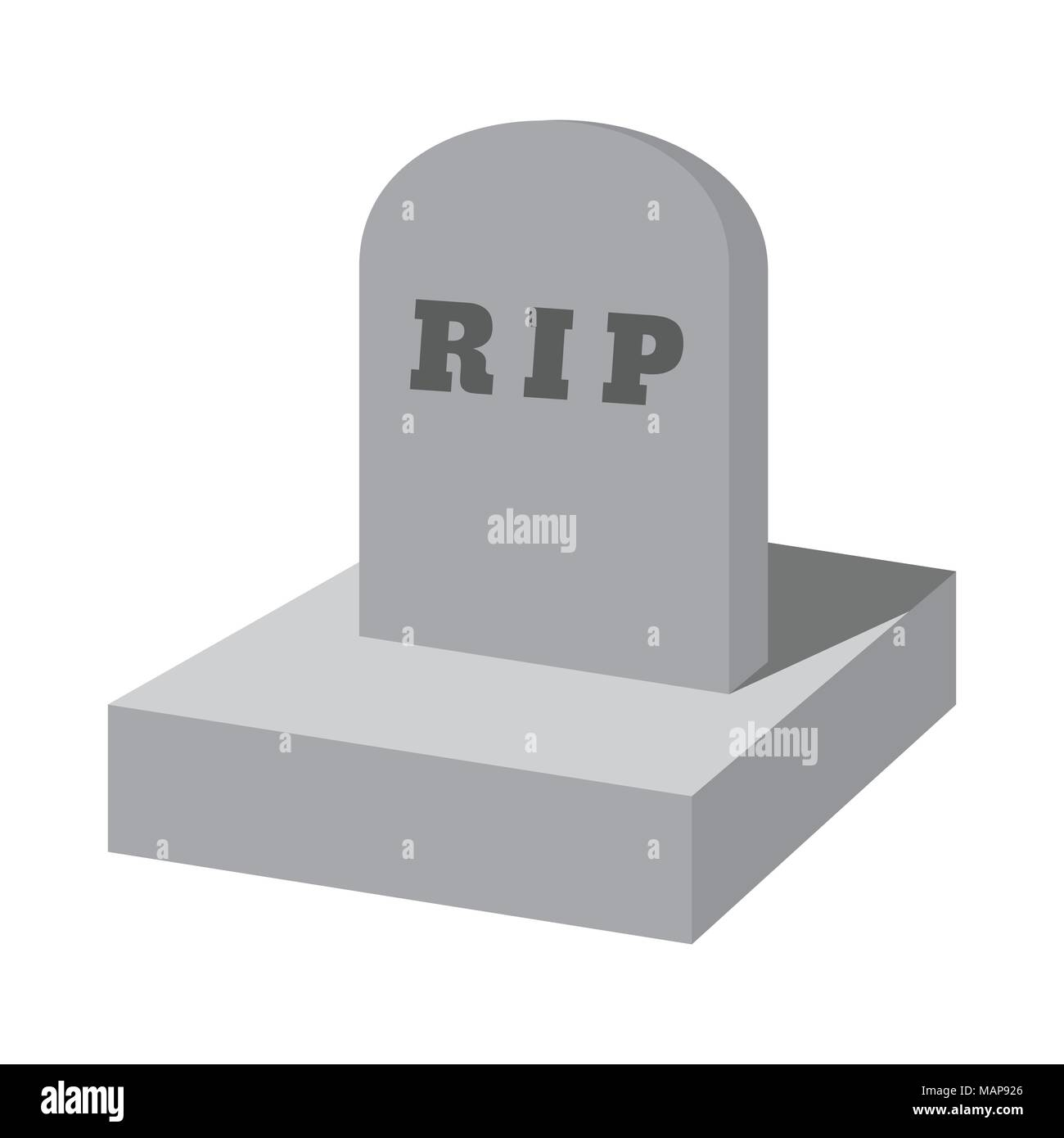 RIP grave cartoon icon. Isolated vector illustration on white background. - Stock Vector