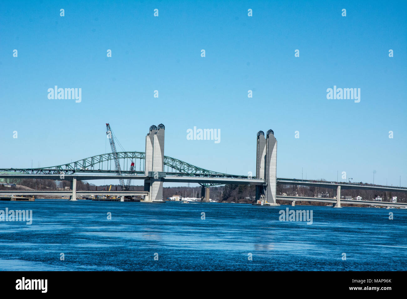 Two bridges being worked of during winter months. - Stock Image