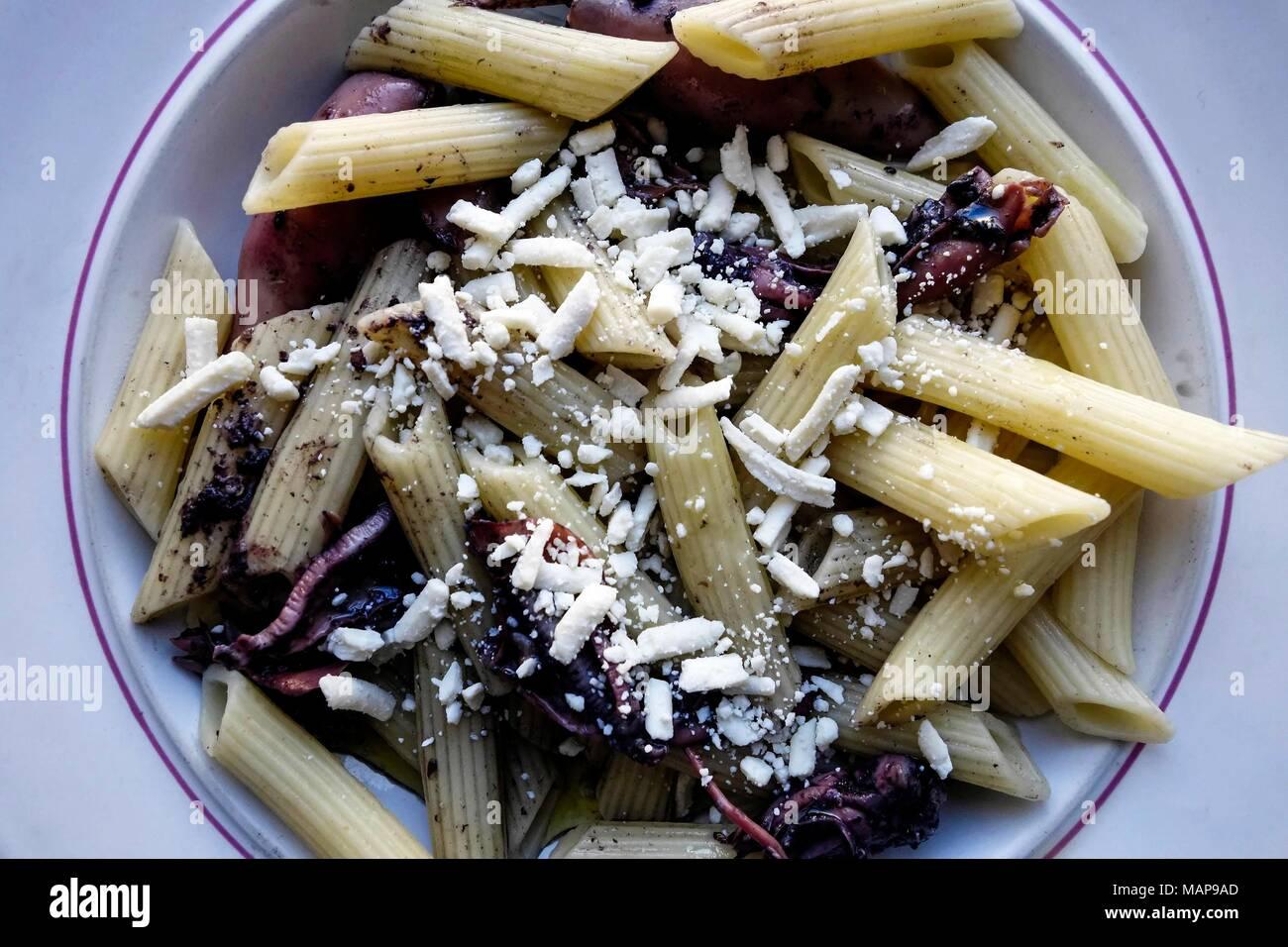 Pasta and Calamari - Stock Image