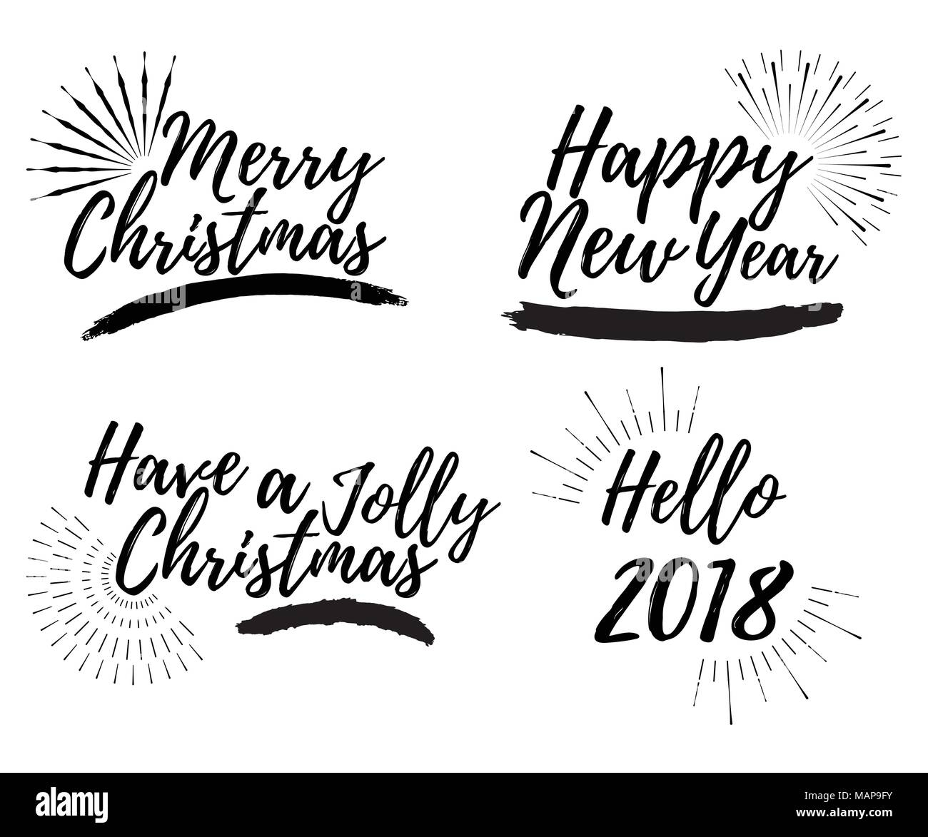 set of merry christmas card with calligraphy text and sunburst