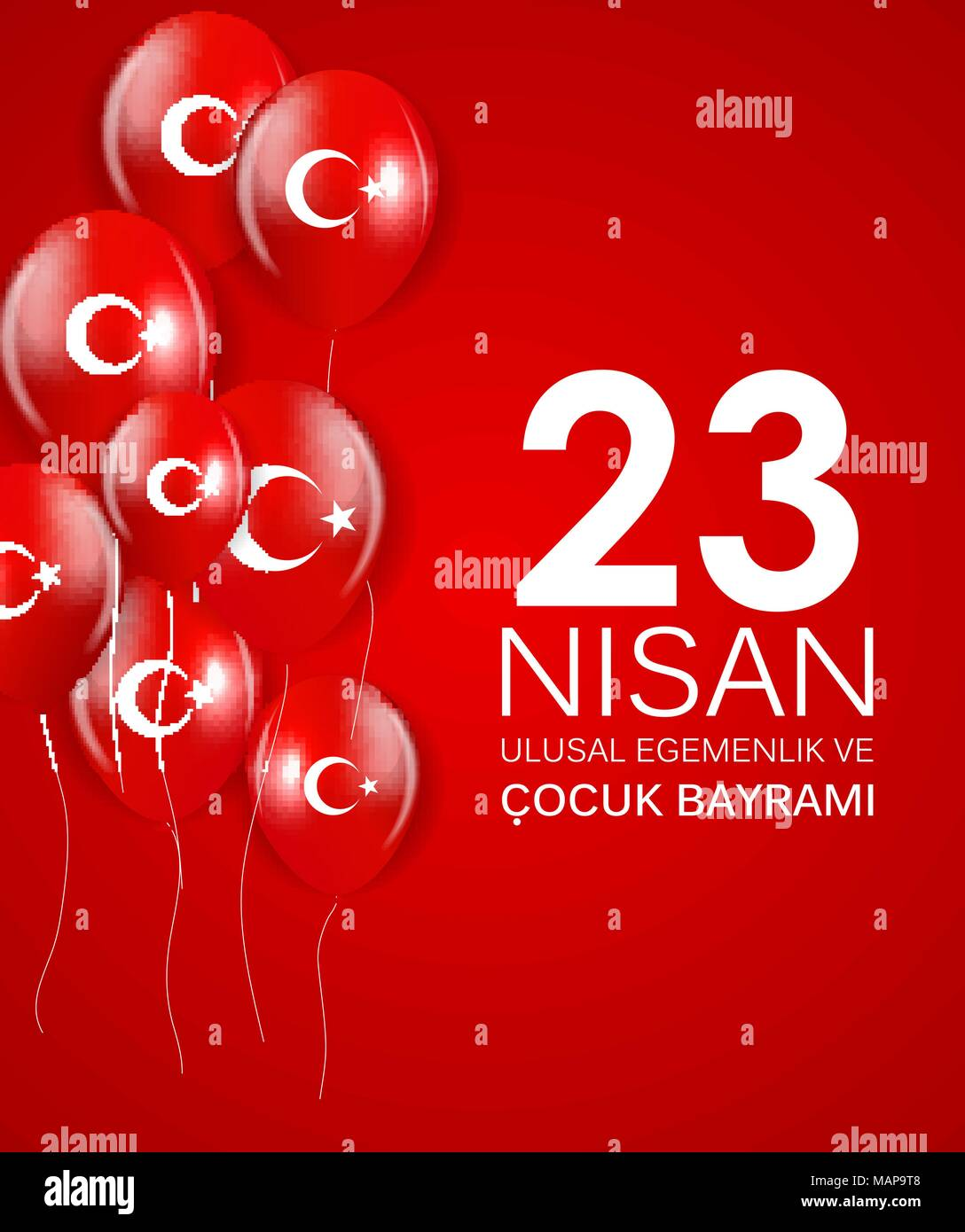 23 nisan cocuk baryrami. Translation: Turkish April 23 Childrens Day Vector Illustration - Stock Vector