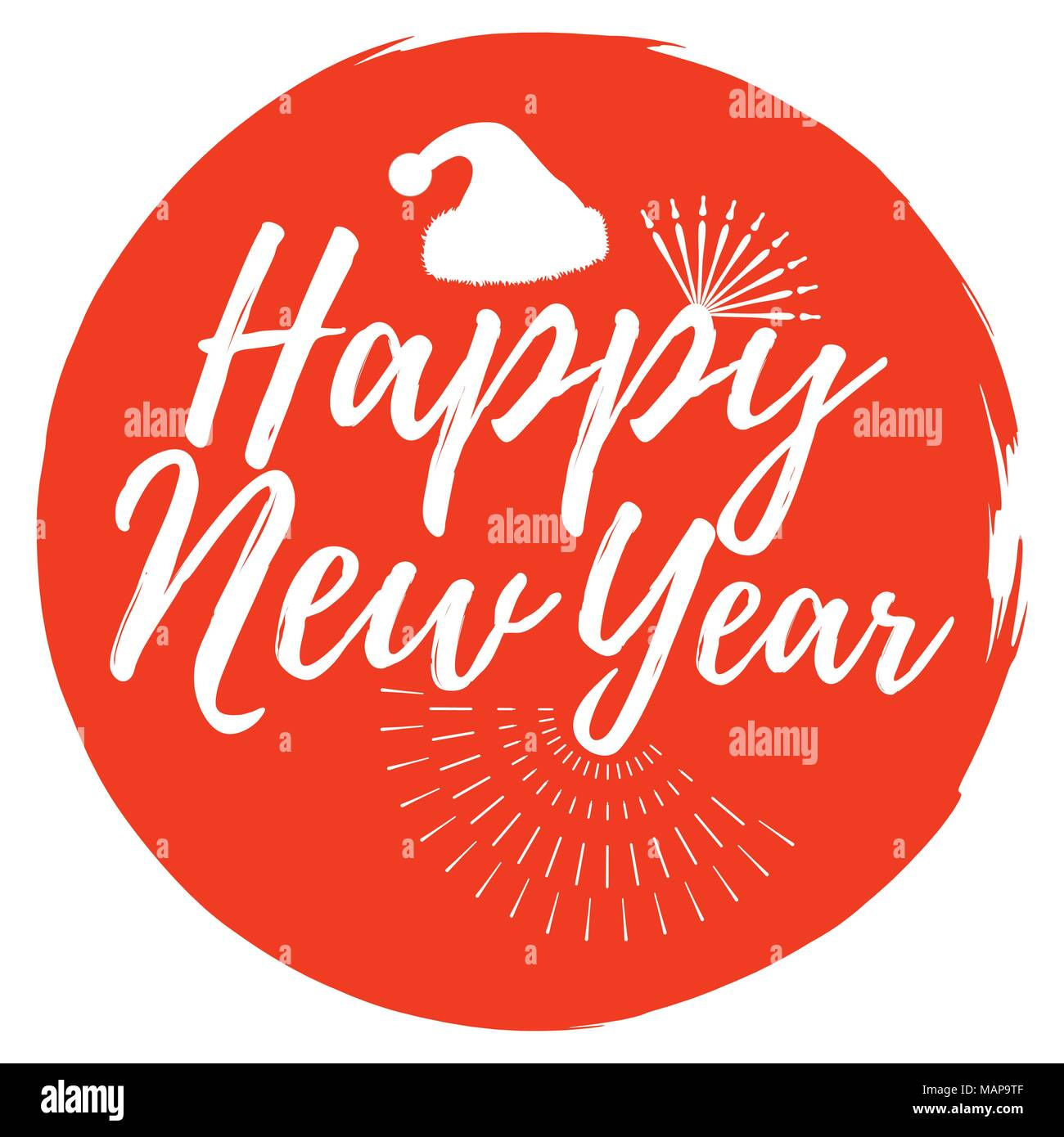happy new year and christmas label font with brush xmas badges vector illustration icon with sunburst