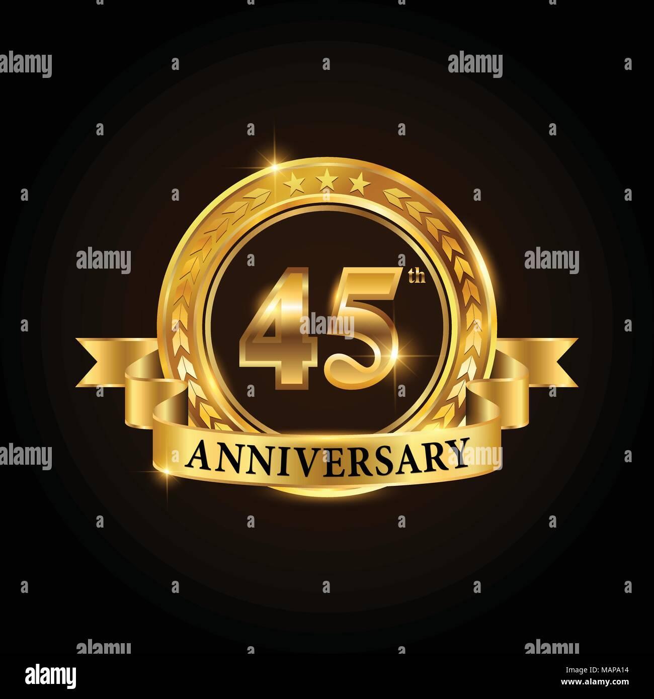 45 Years Anniversary Celebration Logotype Golden Anniversary Emblem