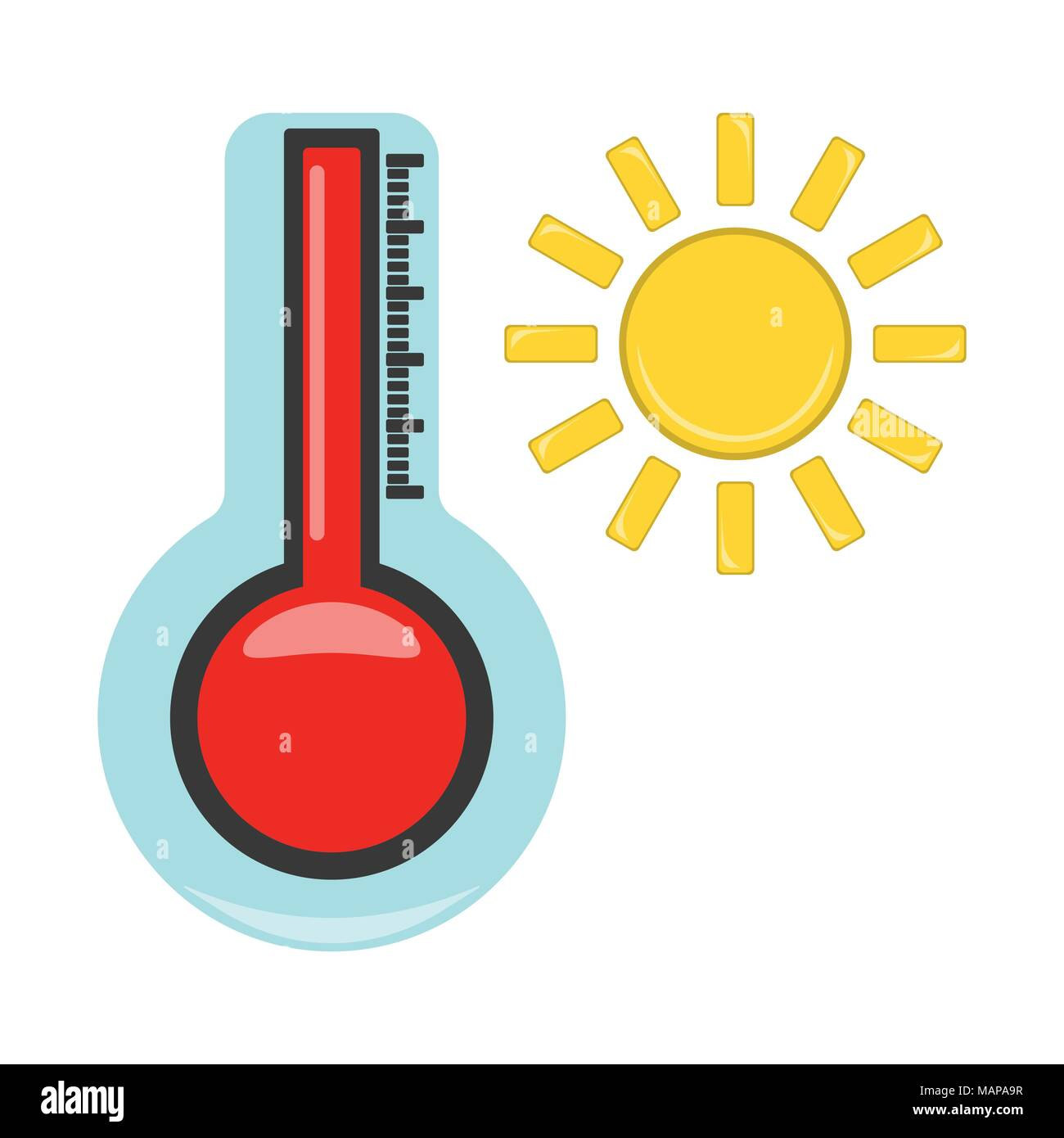 Thermometer with Hot Icon. Weather label for Web on white background. Cartoon Vector Illustration. - Stock Vector