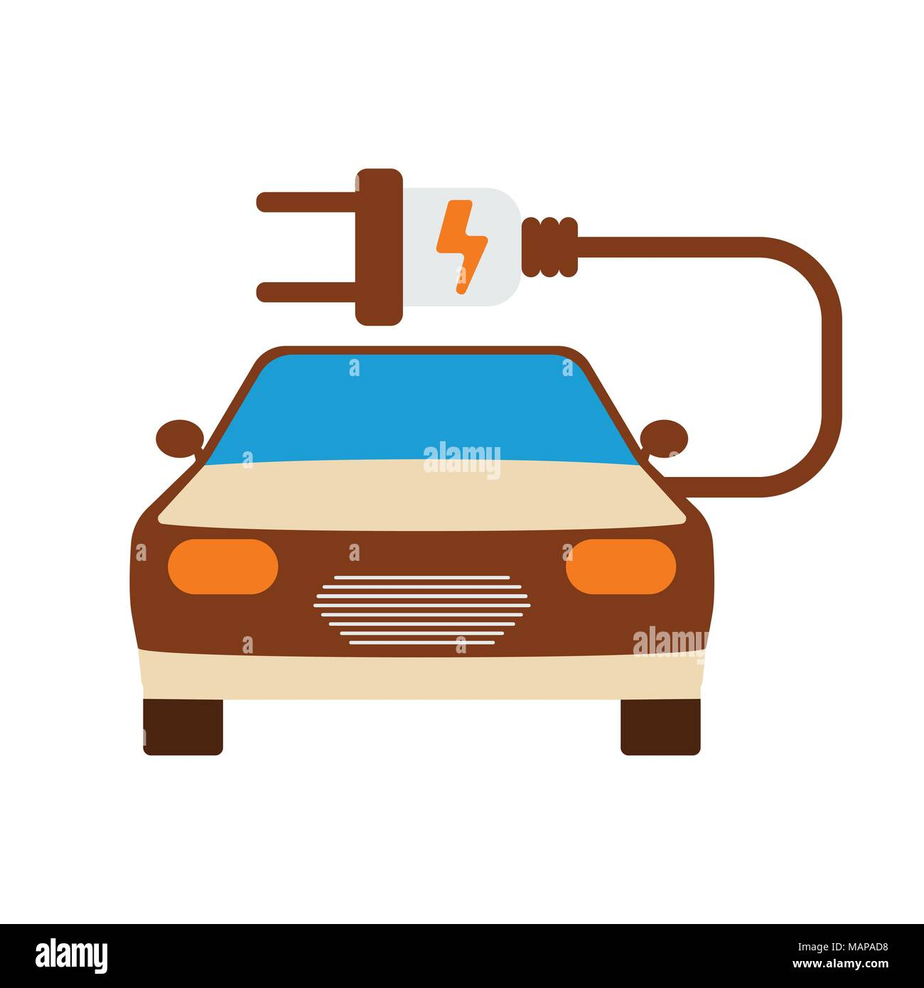 Electric Car Icon Energy Label For Web On White Background Flat