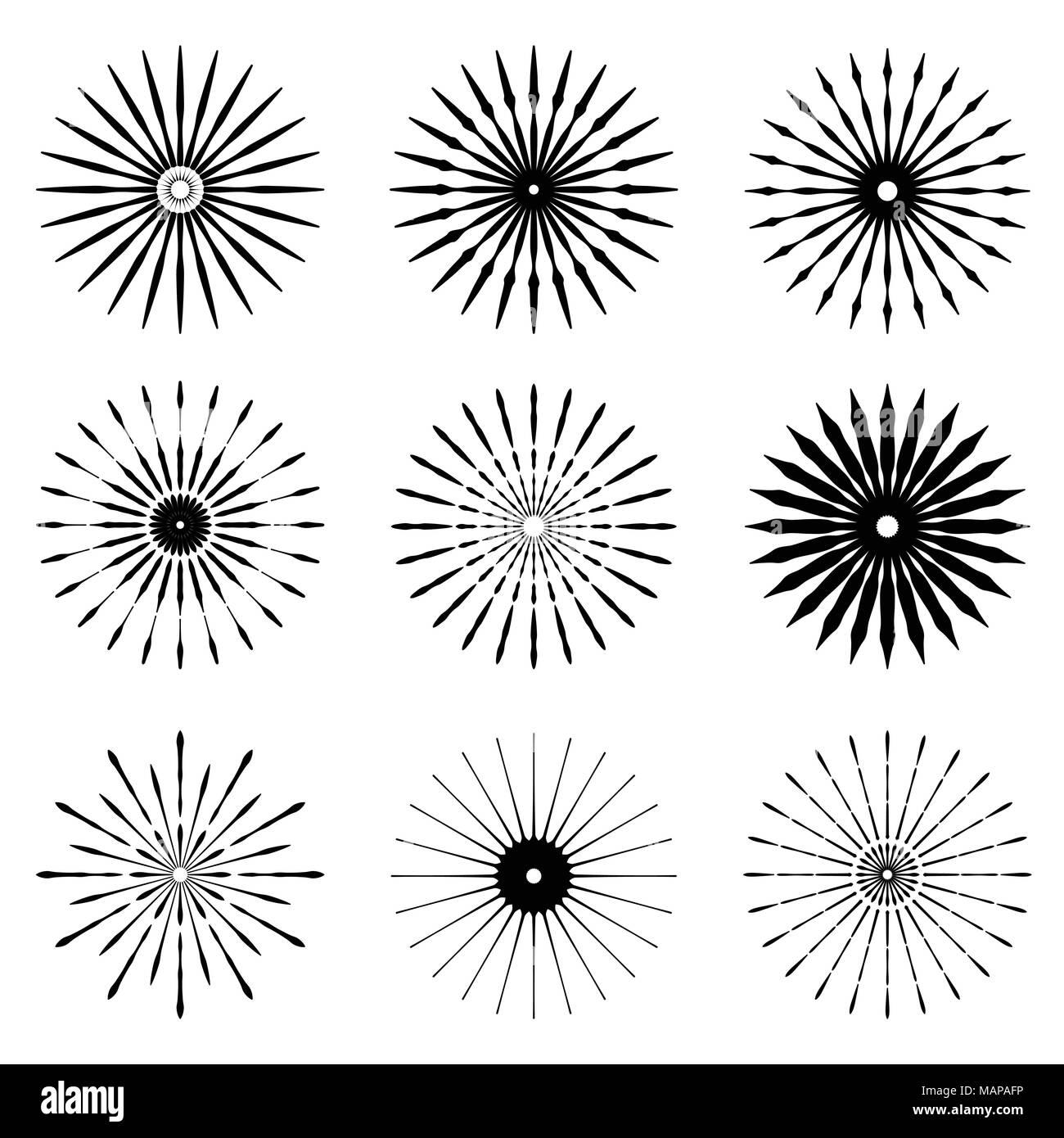 Big set of Retro Sun burst shapes. Vintage logo, labels ...
