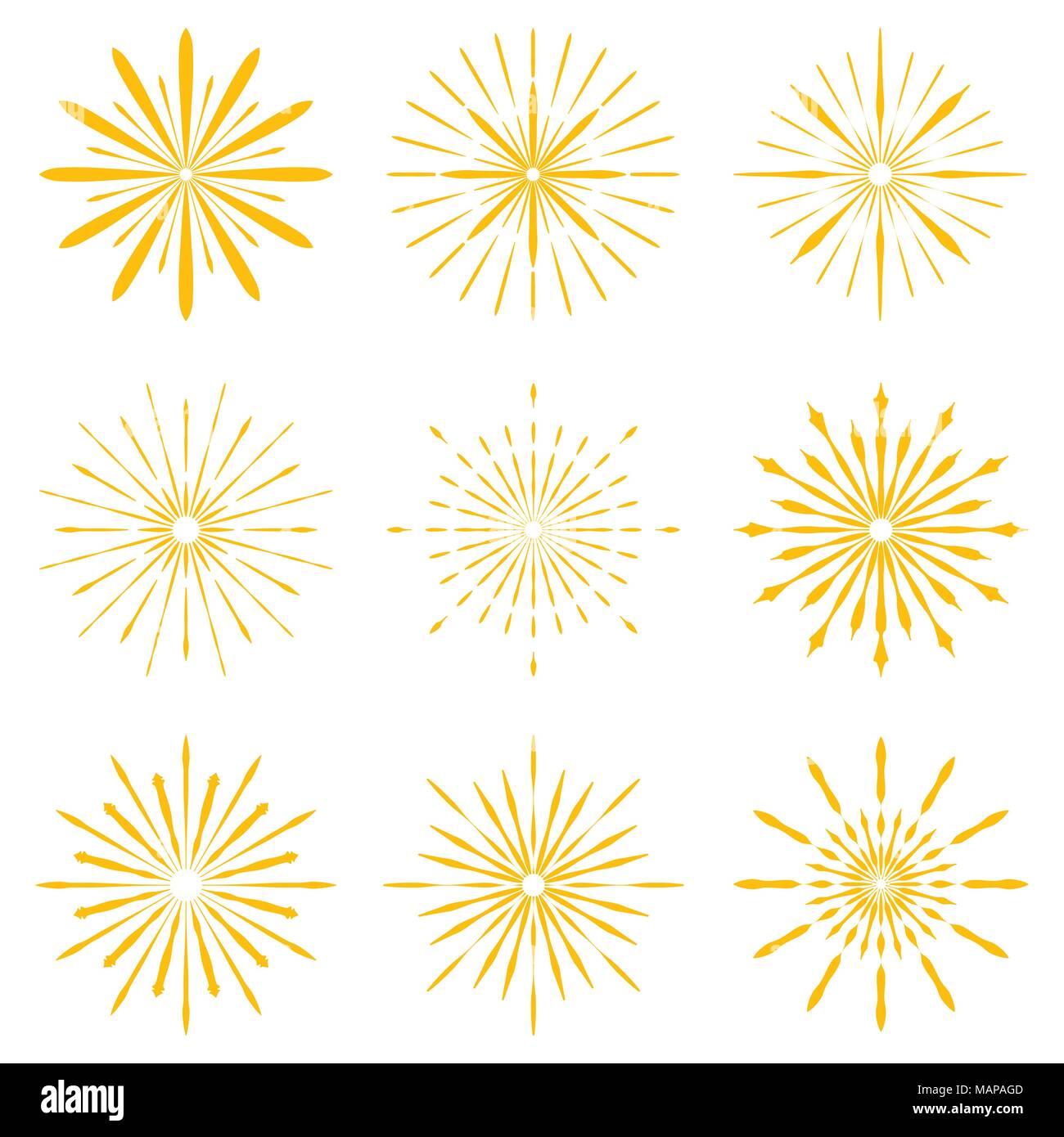 Big set of Retro Sun burst shapes. Vintage logo, labels, badges ...