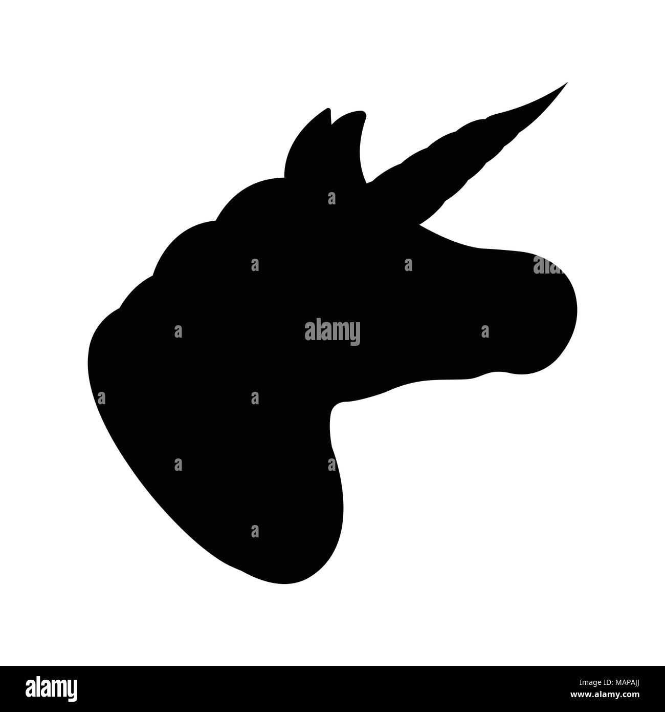 Unicorn icon. Fantasy World of the Unicorn. Black and Simple style. Vector Illustration. - Stock Image