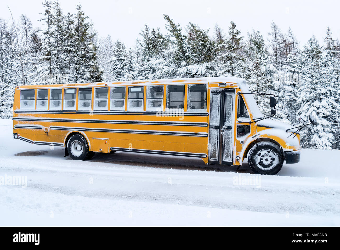 School bus dusted with light covering of snow. - Stock Image