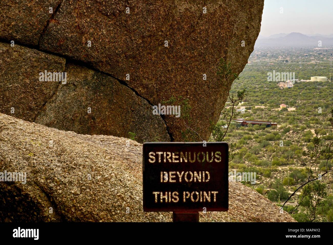 signage on hiking trail in Arizona warning of difficulty - Stock Image