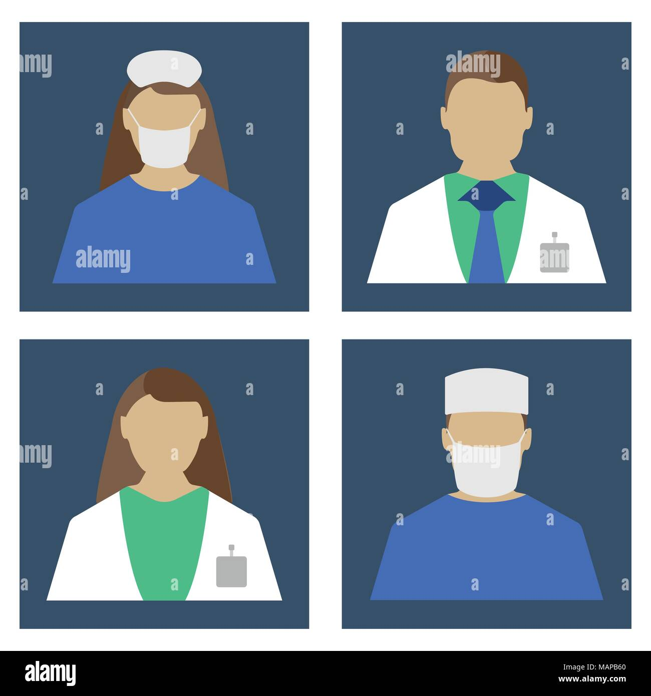 Doctors Set. Medical object flat icon. Vector Illustration Stock Vector