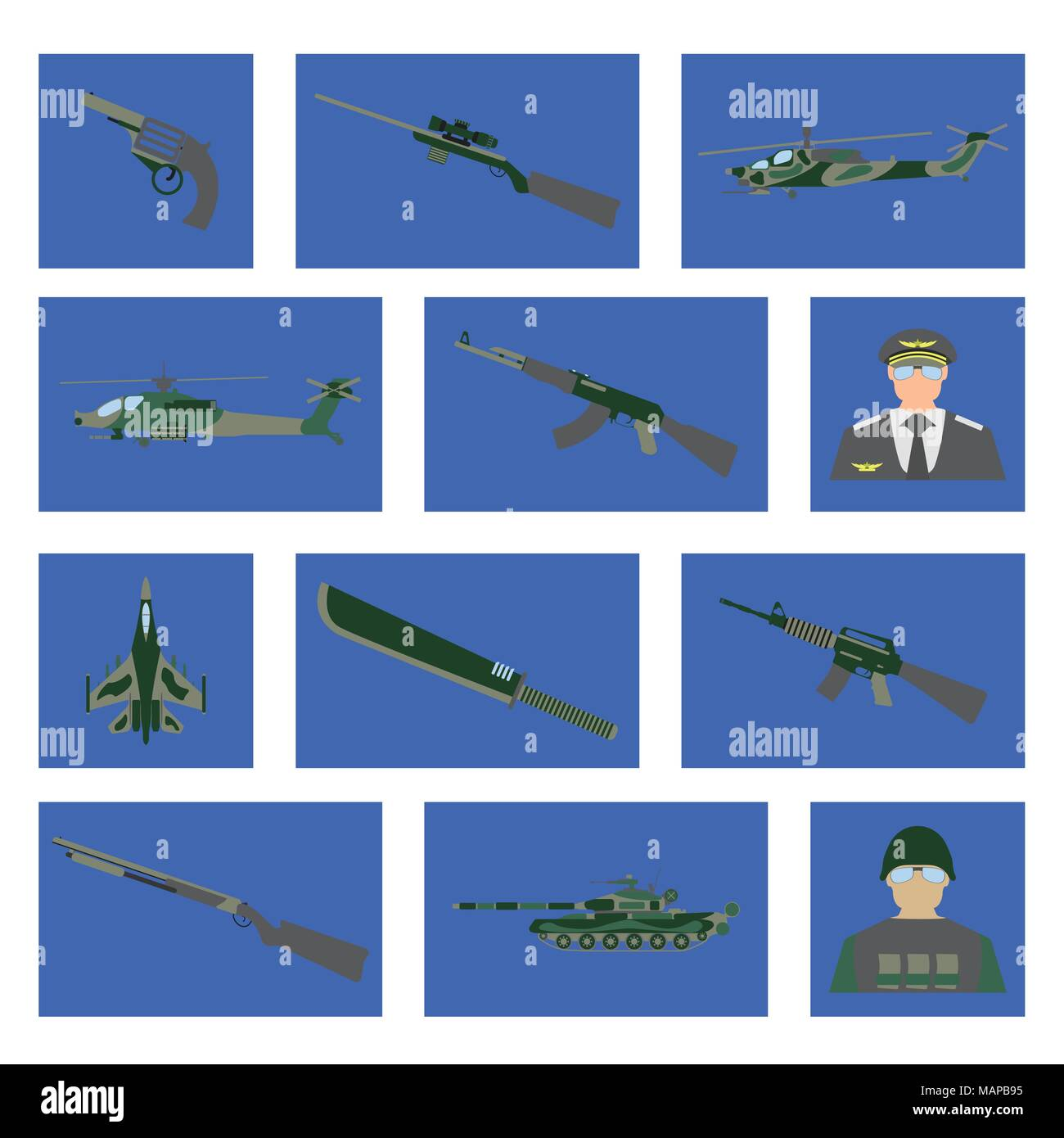 Set of 12 military icon. Fighter aircraft, tank, helicopter, weapon, soldier, pilot. Vector illustration. - Stock Vector