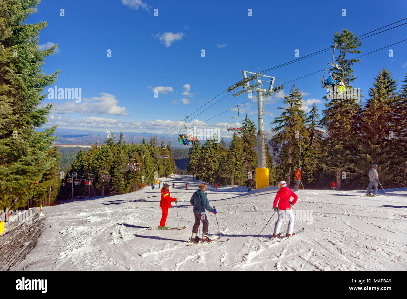 Martinovi Baraki 1 ski slope at Borovets ski resort, Targovishte, Bulgaria. - Stock Image