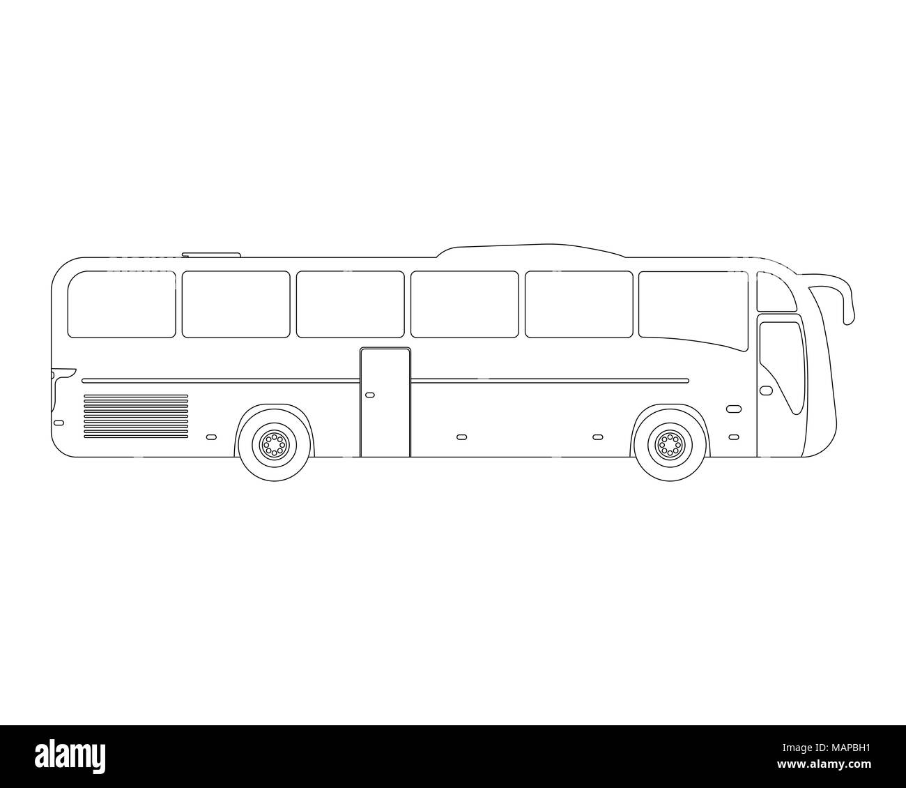 Bus flat icon and logo. Outline Vector illustration. - Stock Image