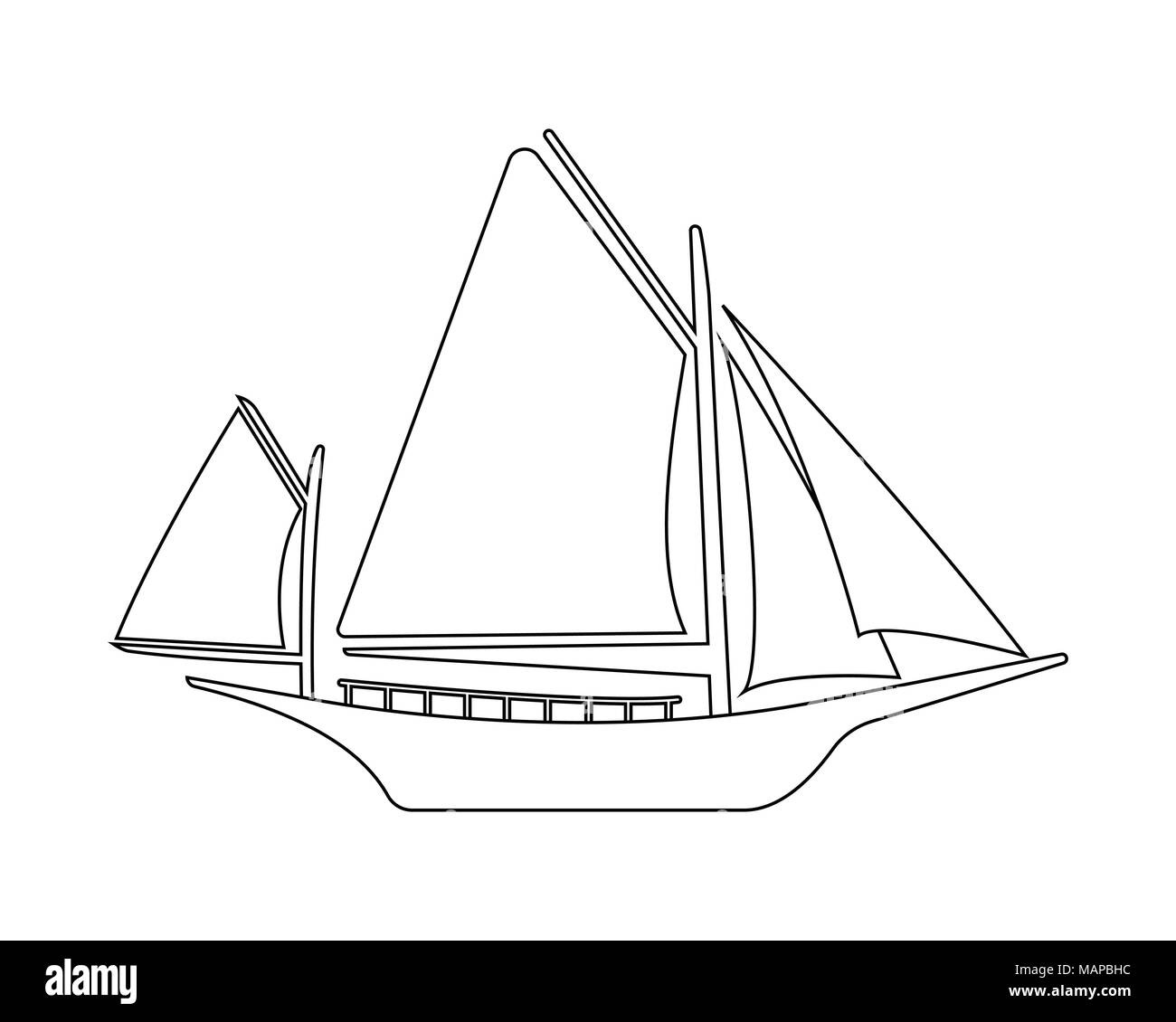 Boat flat icon and logo. Outline Vector illustration. - Stock Vector