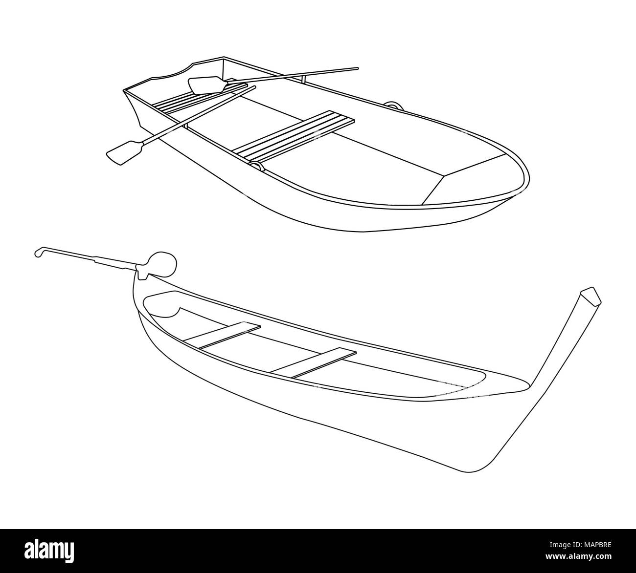 Boat and Pirogue flat icon. Outline Vector Illustration. Stock Vector