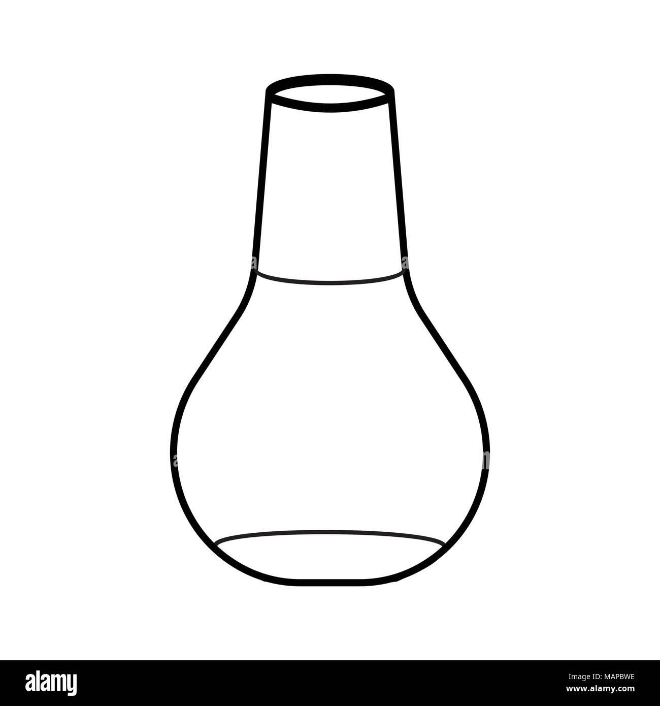 Outline Laboratory Flask icon. Schools Supplies. Isolated Vector illustration. - Stock Vector