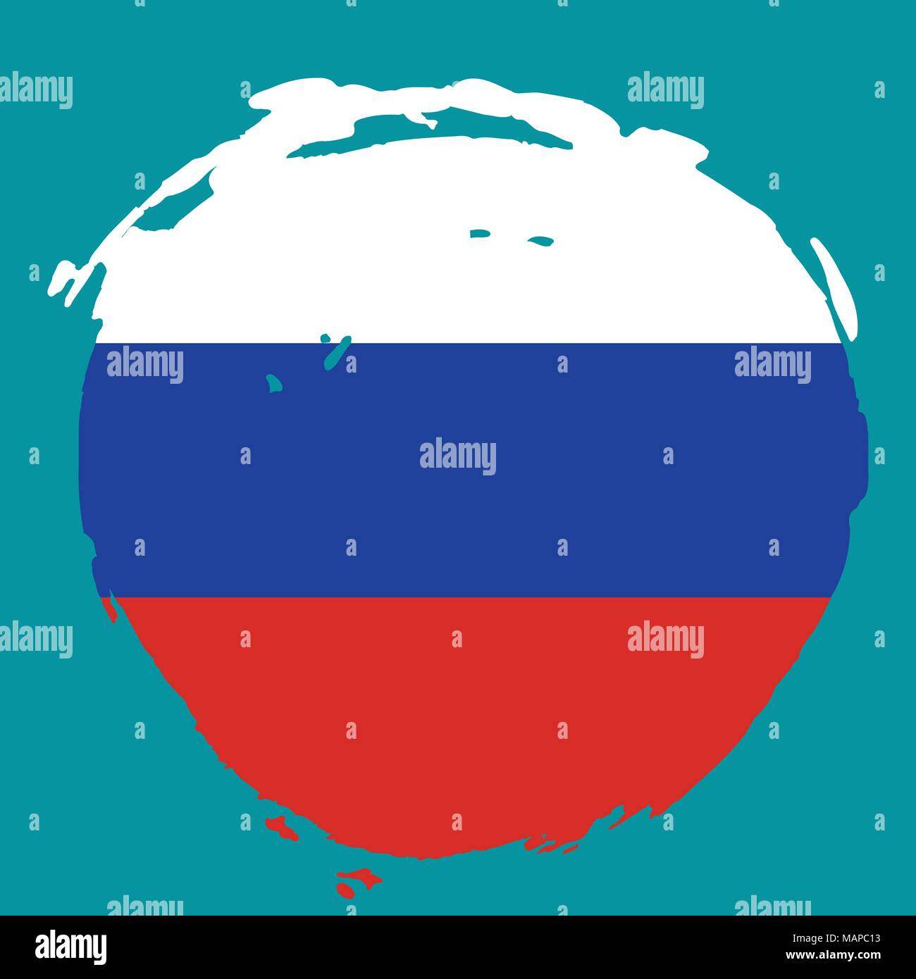 Russia Flag on blue background. Isolated Vector illustration. Stock Vector