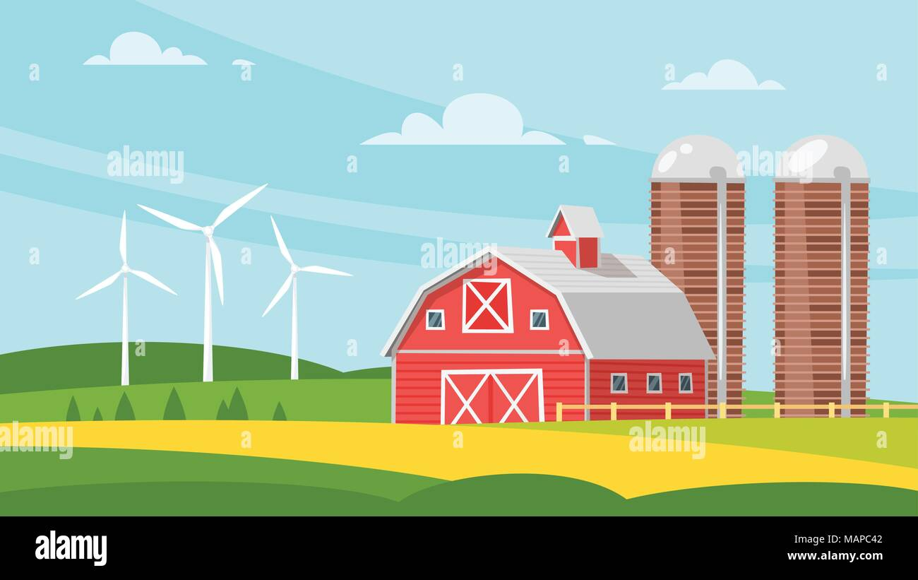 Vector cartoon style illustration of farm building - barn on rural landscape. Eco wind mills on the background. - Stock Vector