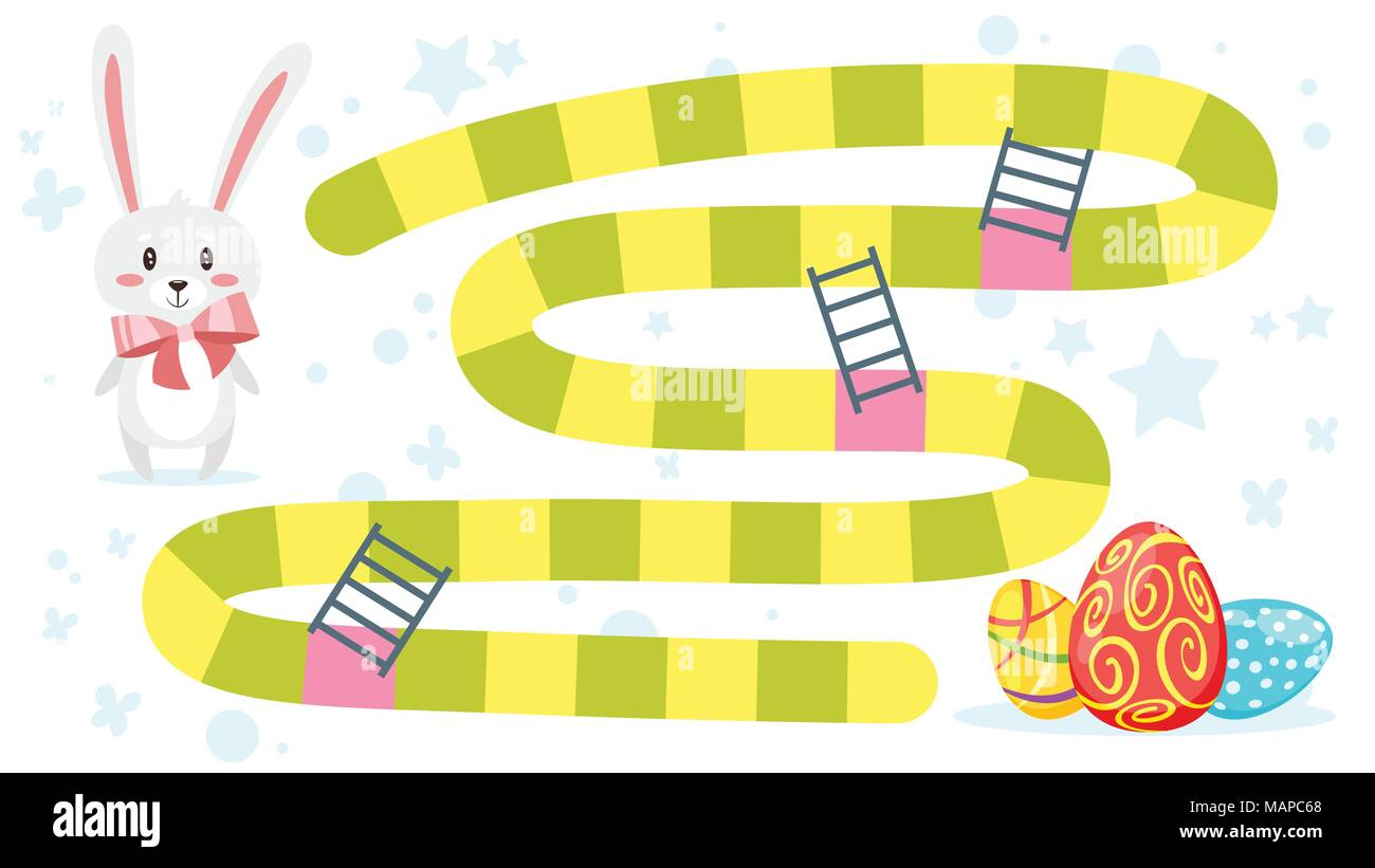 Vector Cartoon Style Illustration Of Kids Easter Board Game Template