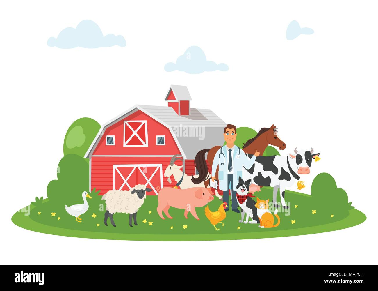 Vector Cartoon Style Illustration Of Happy Veterinarian Doctor Character Surrounded By Farm Animals Cow Dog Pig Et Building